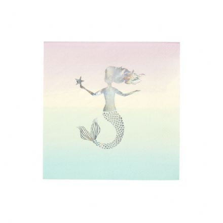 Pastel Pink Mermaid Napkins - pack of 16